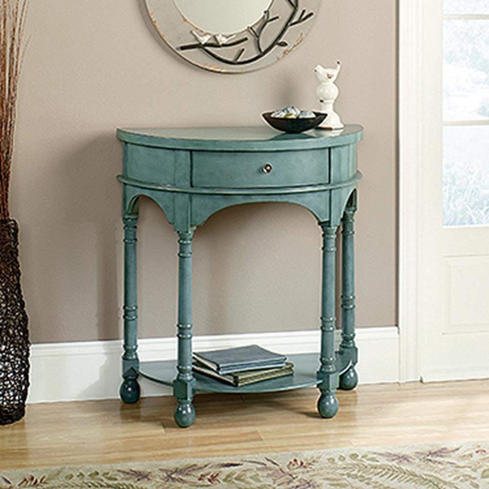 Sauder harbor view antiqued teal accent table 417132 the home depot geotapseo Image collections