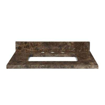 31 in. Marble Vanity Top in Dark Emperador without Basin