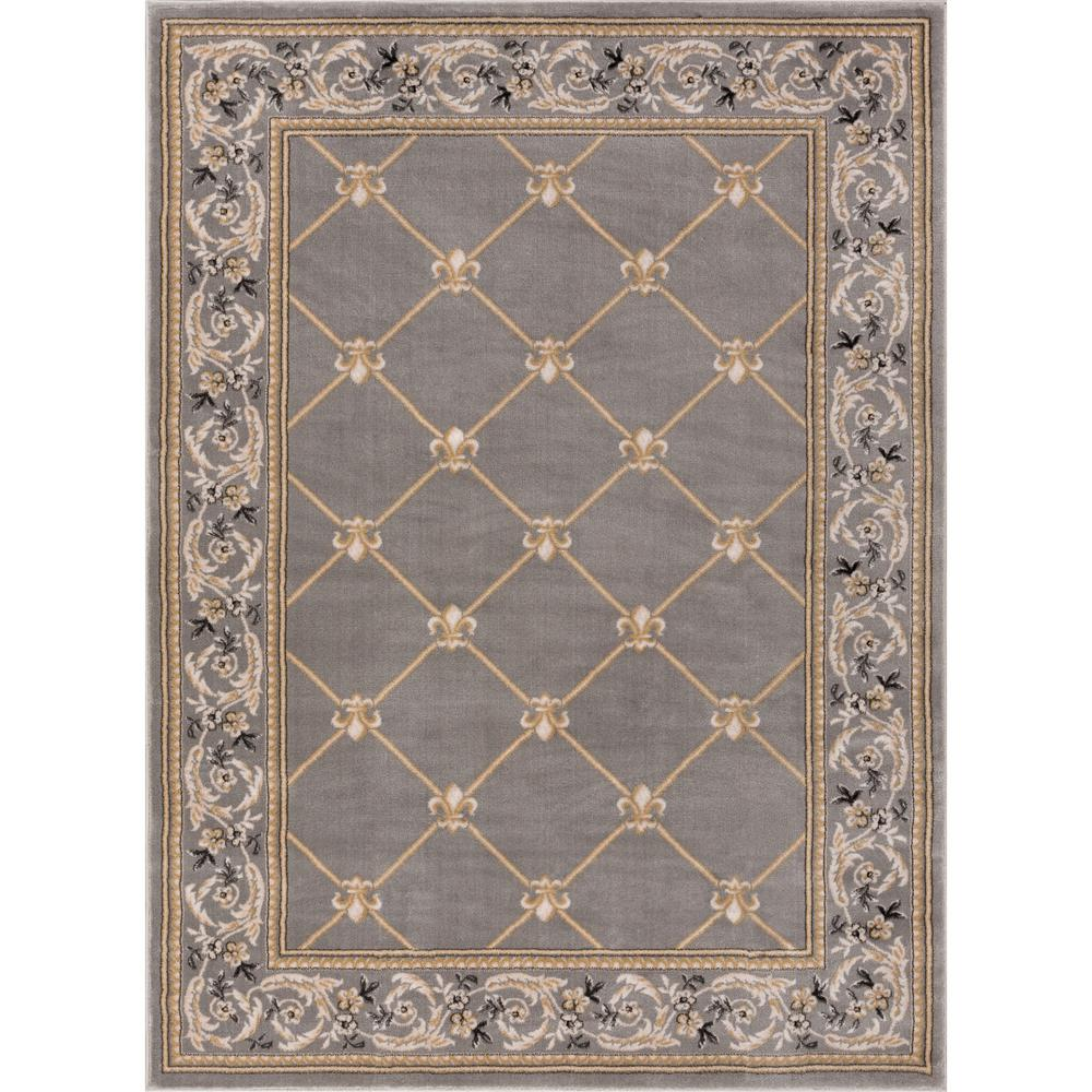 Well Woven Timeless Fleur De Lis Gray 7 Ft X 9 Ft Traditional Area