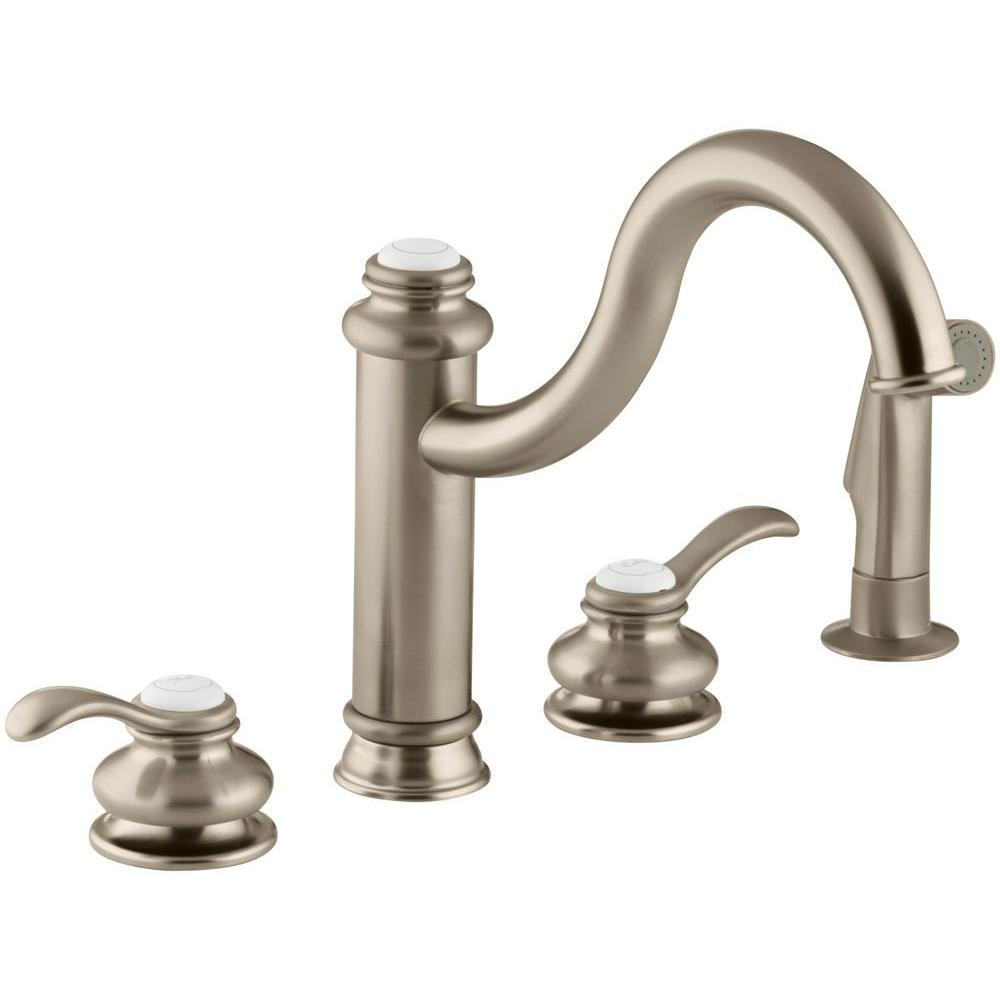 brushed bronze kitchen faucet kohler fairfax 2 handle standard kitchen faucet with side 16505