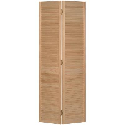 30 in. x 78 in. Full-louvered Unfinished Solid Core Pine Bi-fold Interior Door