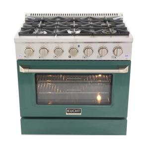 Pro-Style 36 in. 5.2 cu. ft. Propane Gas Range with Convection Oven in Stainless Steel and Green Oven Door
