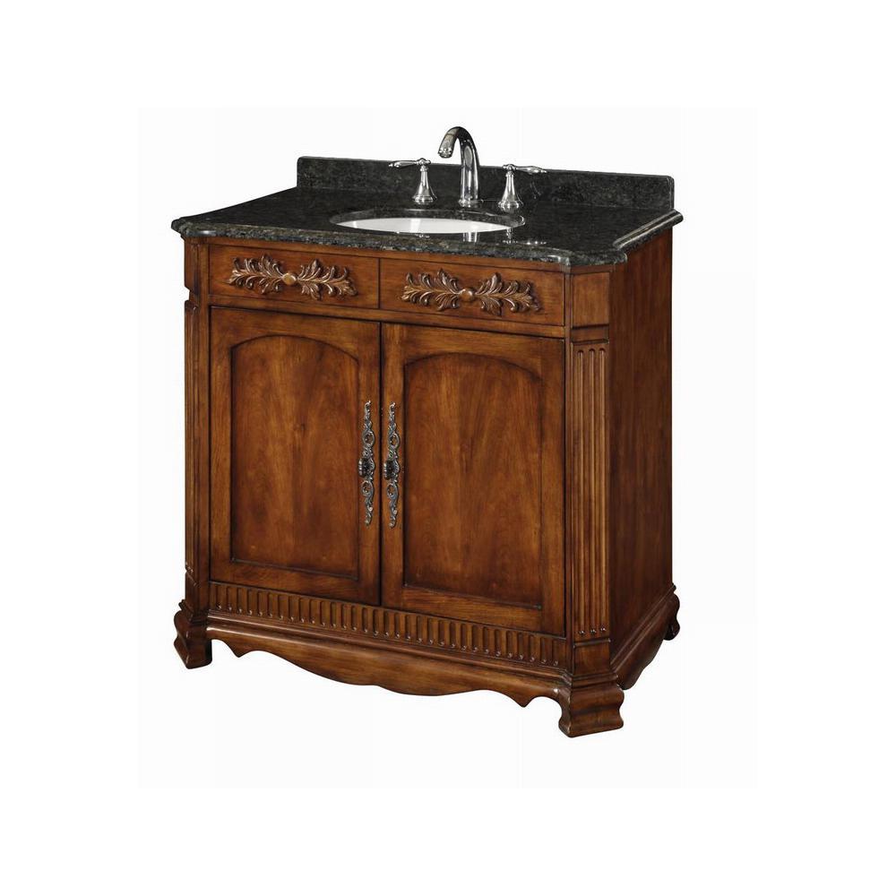 Savannah 36 in. W x 21 in. x D 34 in. H Bath Vanity in Walnut with Granite Vanity Top in Black/Green with White Basin
