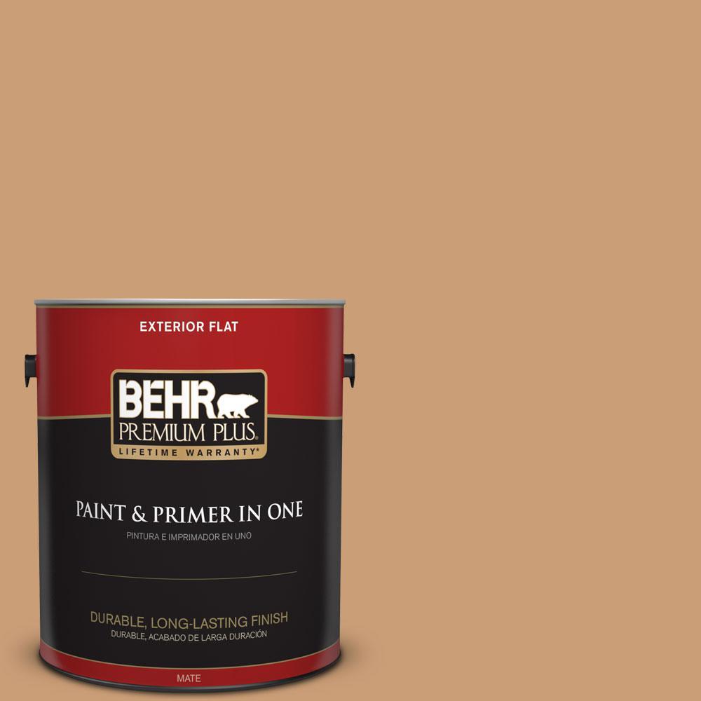 BEHR Premium Plus 1-gal. #ICC-62 Pumpkin Butter Flat Exterior Paint