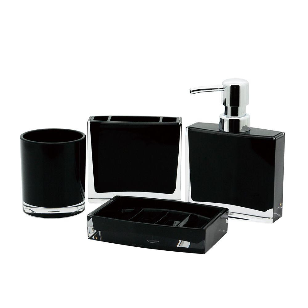 Contemporary 4 piece bath accessory set in black