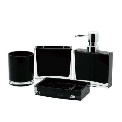 Contemporary 4-Piece Bath Accessory Set in Black