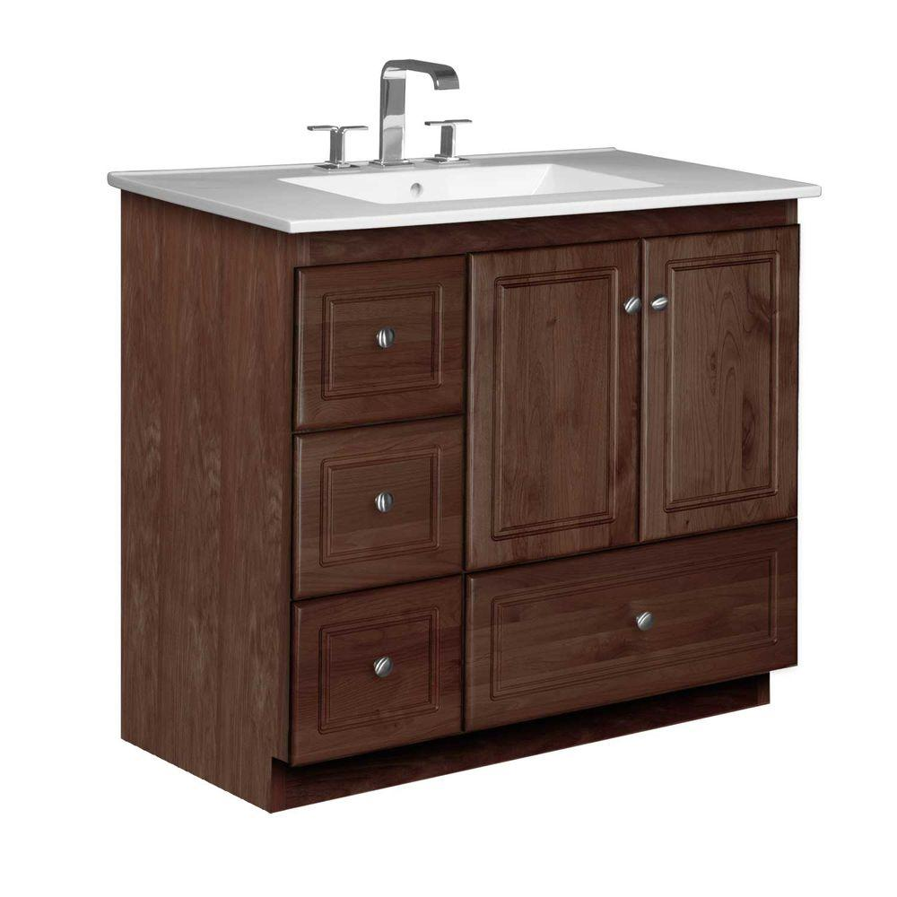 Simplicity by Strasser Ultraline 37 in. W x 22 in. D x 35 in. H Vanity with Left Drawers in Dark Alder with Ceramic Vanity Top in White