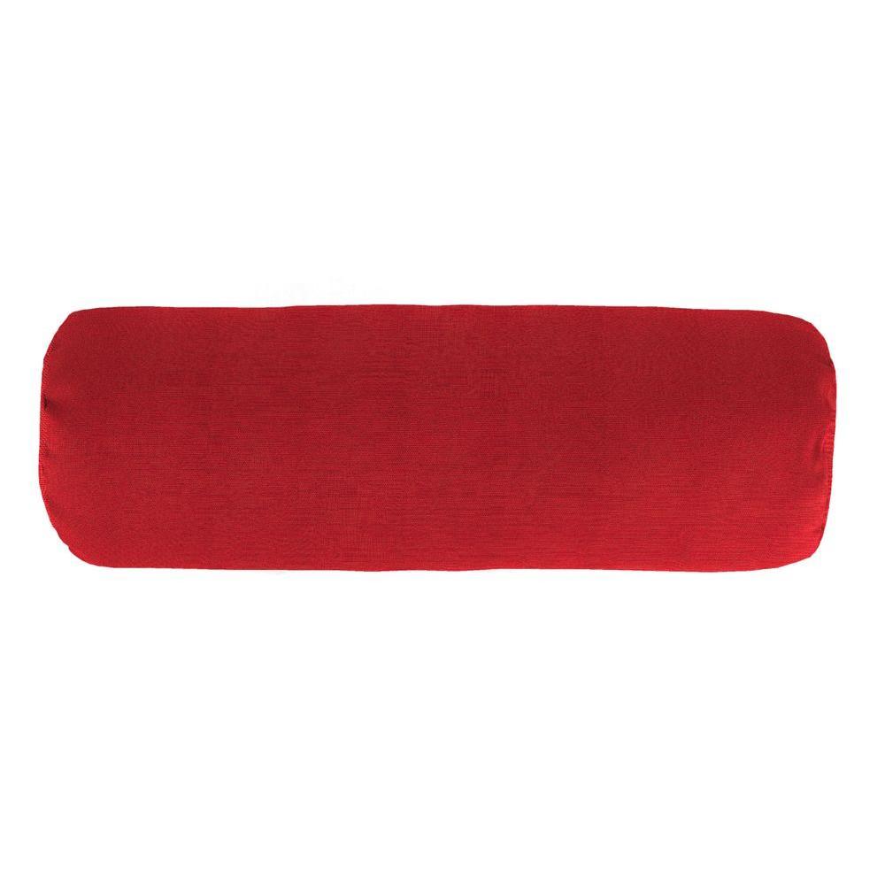 Jordan Manufacturing Sunbrella 7 in. x 20 in. Spectrum Crimson Bolster Outdoor Pillow