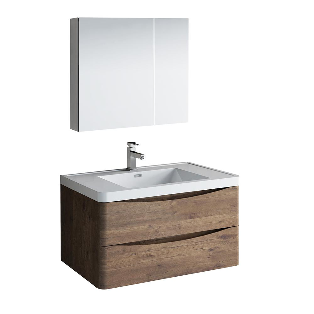 Fresca Tuscany 36 In Modern Wall Hung Bath Vanity In Rosewood With
