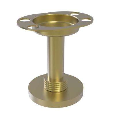 Vanity Top Tumbler and Toothbrush Holder with Groovy Accents in Satin Brass