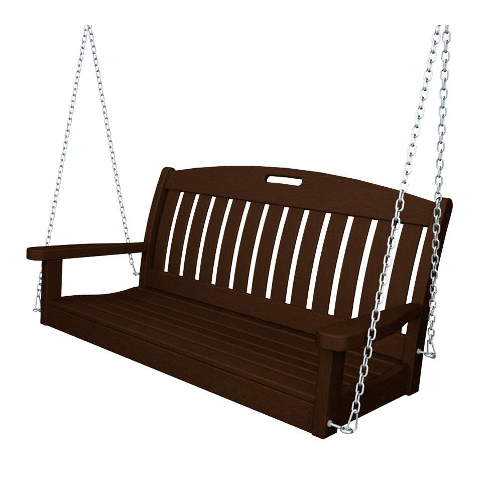Nautical 48 in. Mahogany Plastic Outdoor Porch Swing