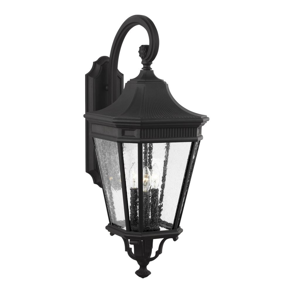 Cotswold Lane Large 3 Light Black Outdoor 30 In Wall Mount Lantern