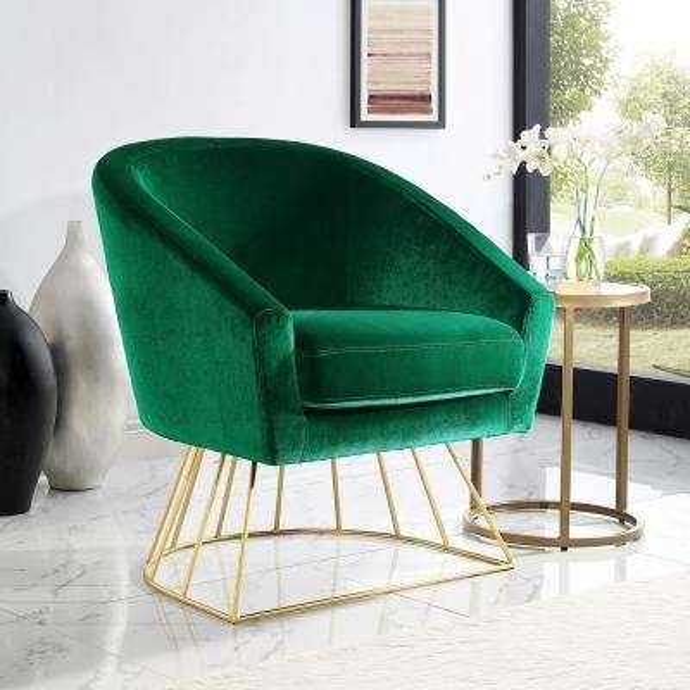 Esmeralda Velvet Green/Gold Modern Contemporary Barrel Accent Chair with Metal Base