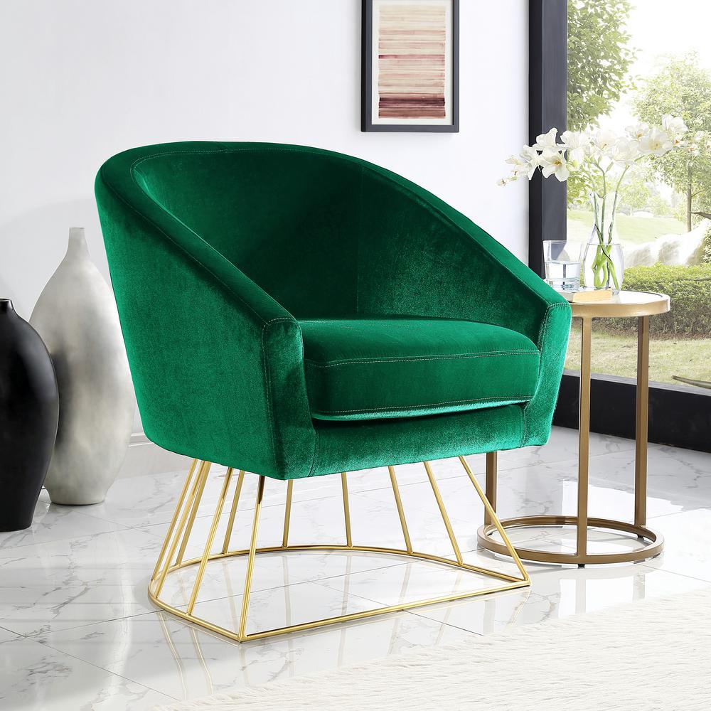 Inspired Home Esmeralda Velvet Green/Gold Modern Contemporary Barrel Accent