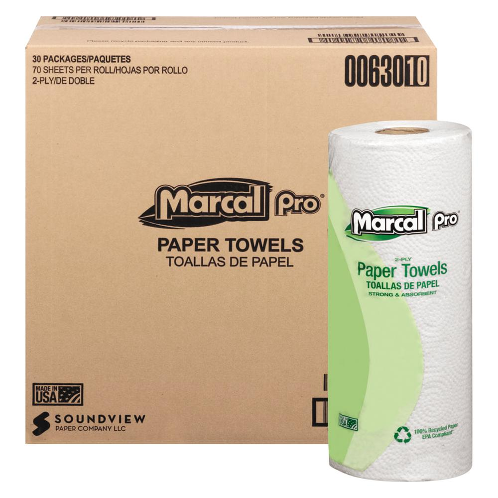 11 in. x 9 in. 2-Ply White 100% Premium Recycled Towels
