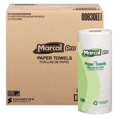 11 in. x 9 in. 2-Ply White 100% Premium Recycled Towels (70/Roll, 30 Rolls/Carton)