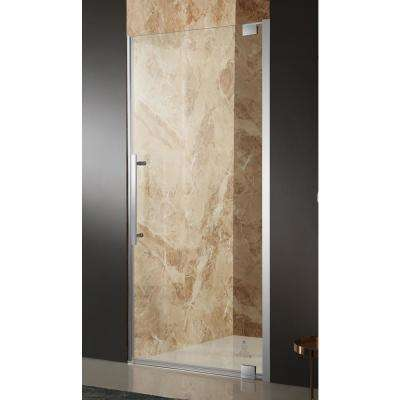 Bishop 36 in. x 72 in. Semi-Frameless Pivot Shower Door in Polished Chrome with Handle