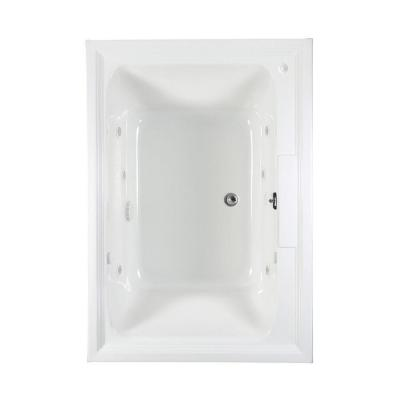 Town Square 60 in. x 42 in. Center Drain EcoSilent EverClean Whirlpool and Air Bath Tub with Chromatherapy in White