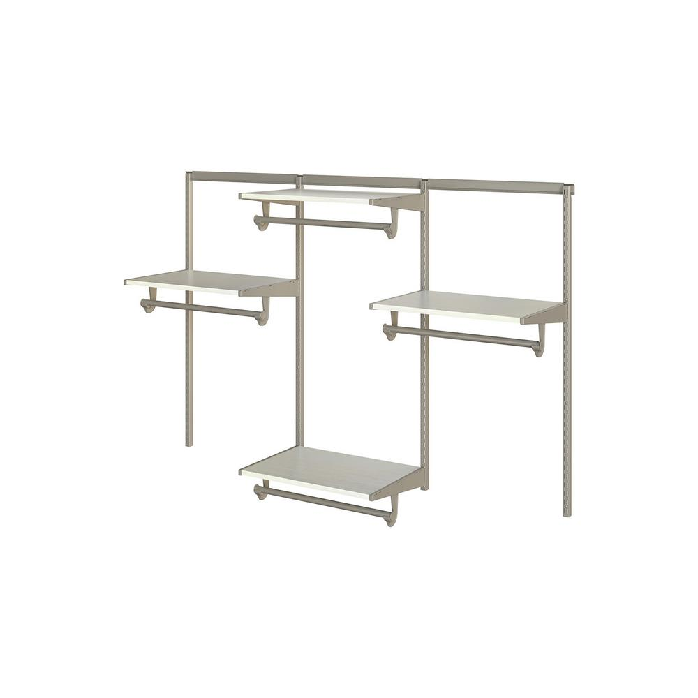 Knape & Vogt Closet Culture 16 in. D x 72 in. W x 48 in. H  with 4 White Oak Wood Shelves Steel Closet System
