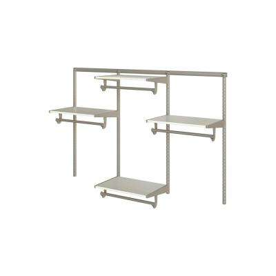 Closet Culture 16 in. D x 72 in. W x 48 in. H  with 4 White Oak Wood Shelves Steel Closet System