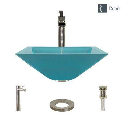 Glass Vessel Sink in Cerulean with R9-7007 Faucet and Pop-Up Drain in Bushed Nickel