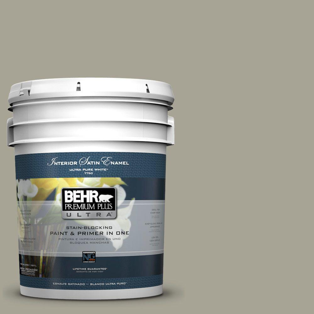 BEHR Premium Plus Ultra Home Decorators Collection 5 gal. #HDC-NT-01 Woodland Sage Satin Enamel Interior Paint and Primer in One