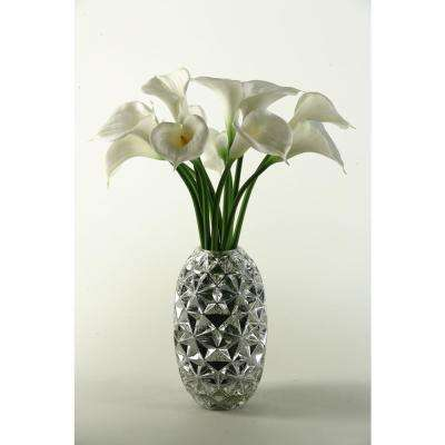 Indoor Large White Natural Touch Calla Lilies in Silver Glass Vase