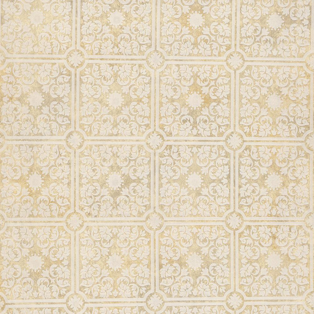 Sabrina Beige Tin Ceiling Wallpaper Sample