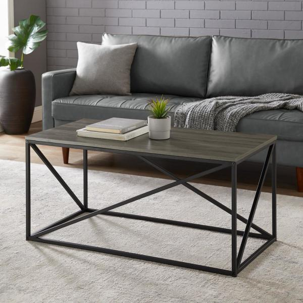 Welwick Designs 40 In Slate Gray Black Medium Rectangle Wood Coffee Table Hd8248 The Home Depot