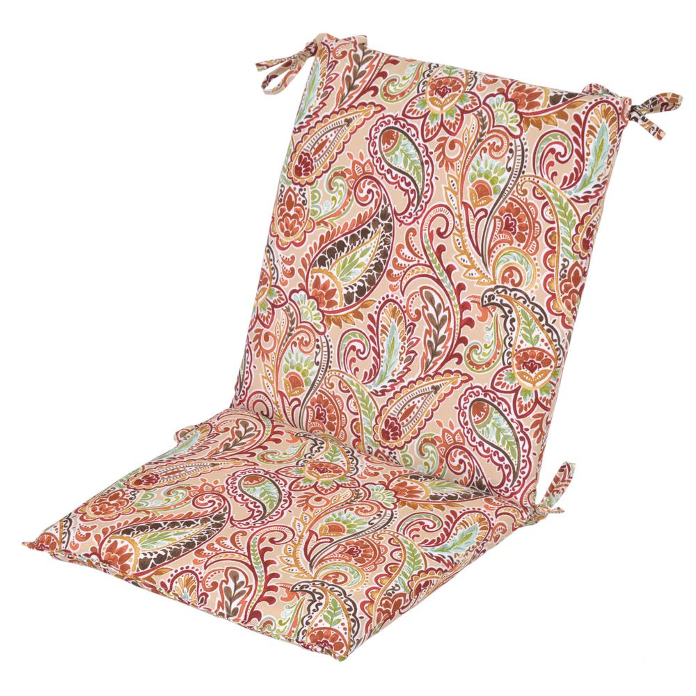 Standard Chili Paisley Outdoor Dining Chair Cushion  sc 1 st  Home Depot & Hampton Bay 20 in. x 17 in. Standard Chili Paisley Outdoor Dining ...