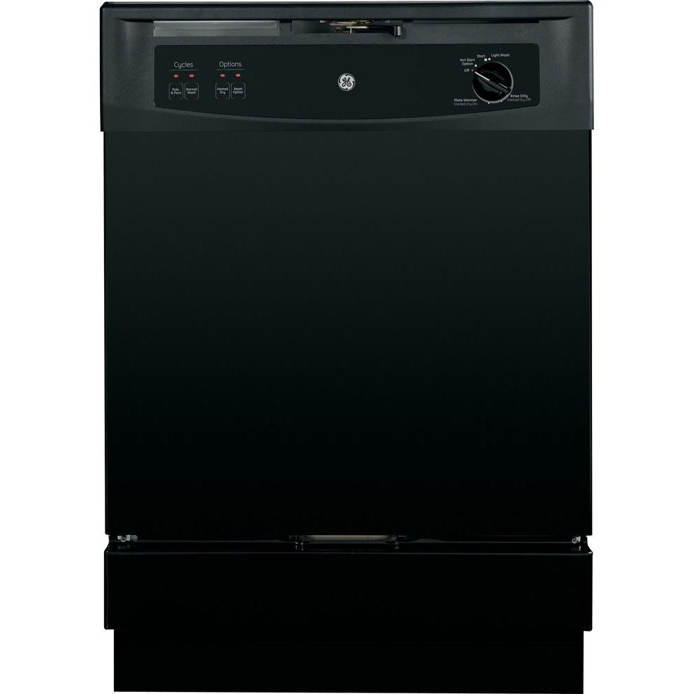 GE Front Control Under-the-Sink Dishwasher in Black