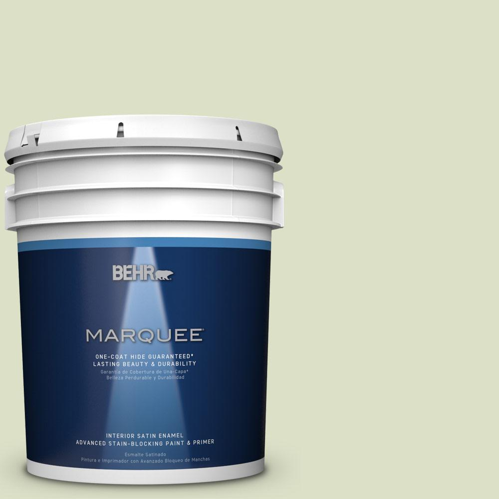 5 gal. #MQ3-47 Airy Green One-Coat Hide Satin Enamel Interior Paint