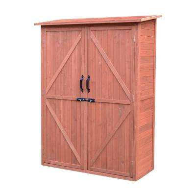 49 in. W x 21 in. D x 64 in. H Medium Brown Cypress Multi-Compartment Storage Shed Cabinet