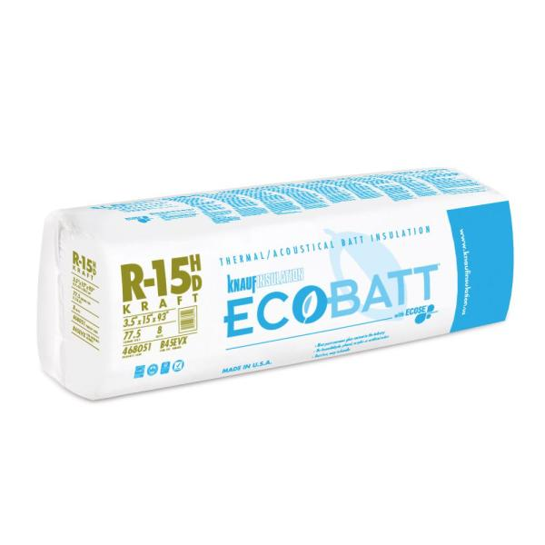 R-15 EcoBatt Kraft Faced Fiberglass Insulation Batt High Density 3-1/2 in. x 15 in. x 93 in.