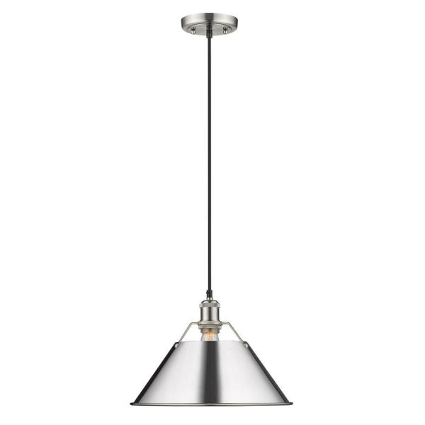 Orwell PW 1-Light Pendant - 14 in. in Pewter with Chrome Shade