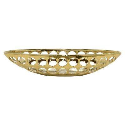 17.5 in. x 5.5 in. Decorative Pierced Gold Ceramic Bowl