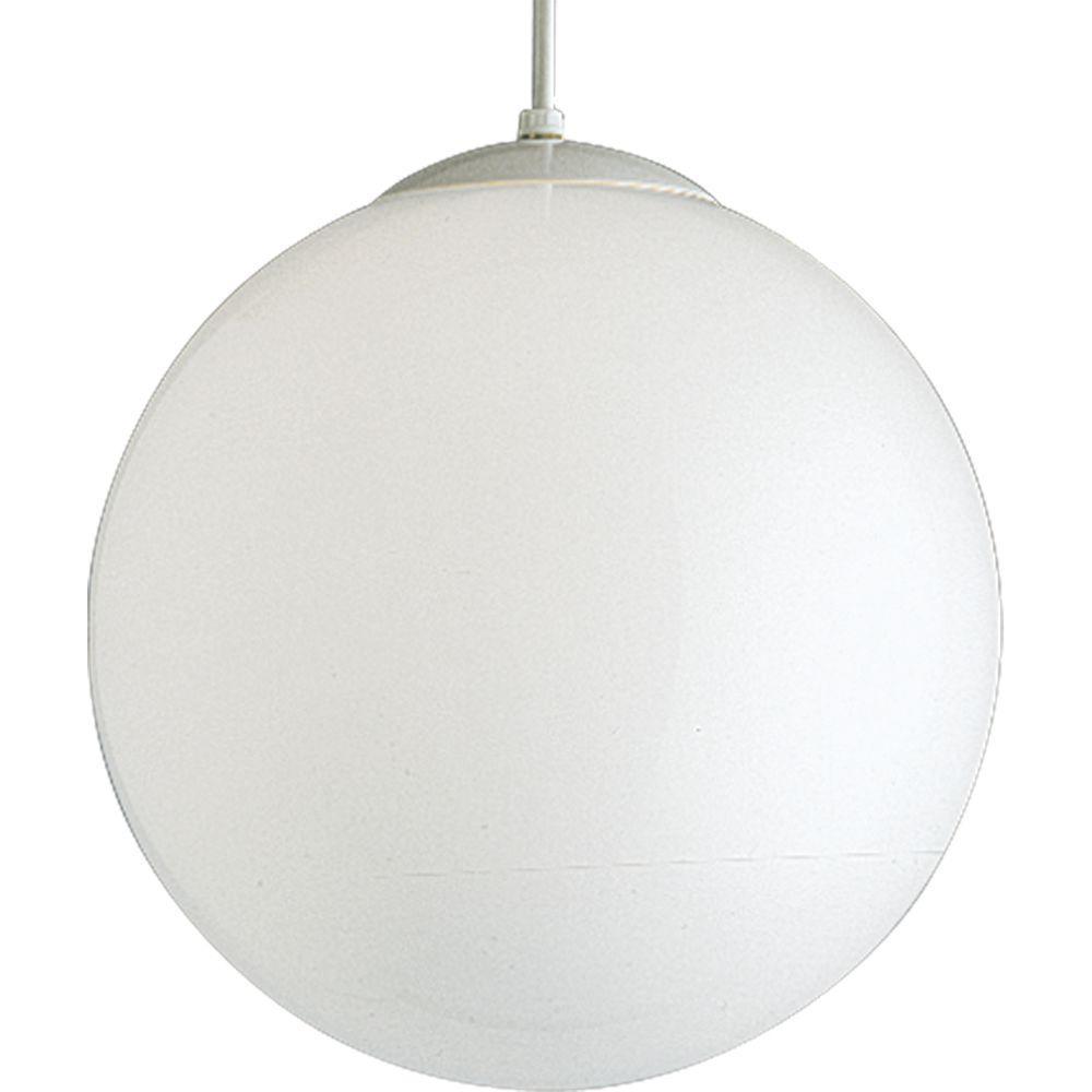 Progress Lighting 1 Light White Pendant With White Opal Glass