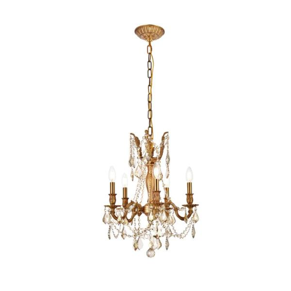 Timeless Home 18 in. L x 18 in. W x 19 in. H 5-Light French Gold with Golden Teak Crystal Traditional Pendant