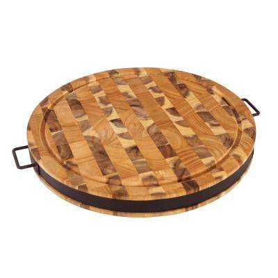 17.5 in. Round Cutting Board with Black Powder Coat Steel Band
