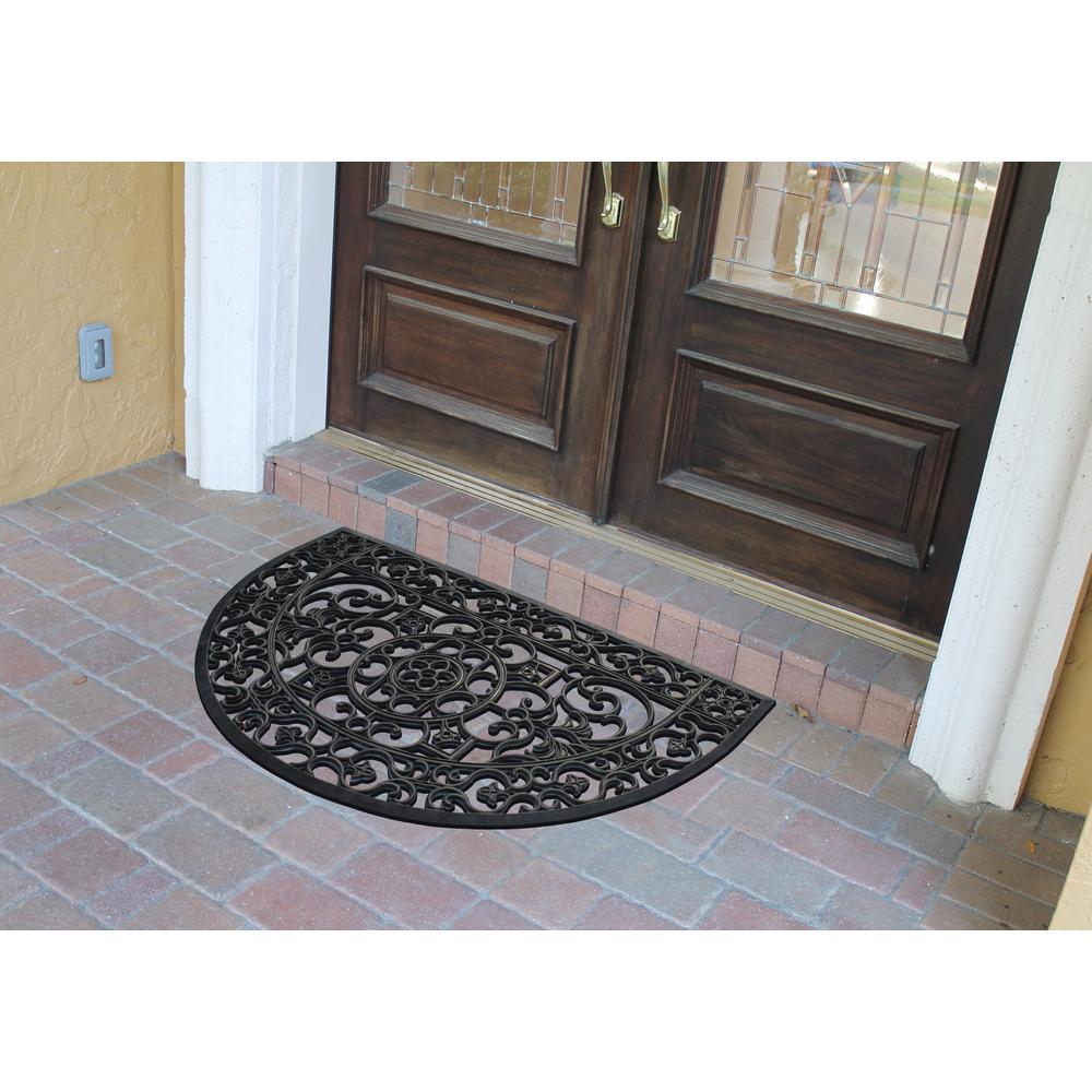 A1HC Indoor/Outdoor All Weather Large Size, Double & Single Doors, Front Door 30 in. x 48 in. Black Rubber Grill Doormat