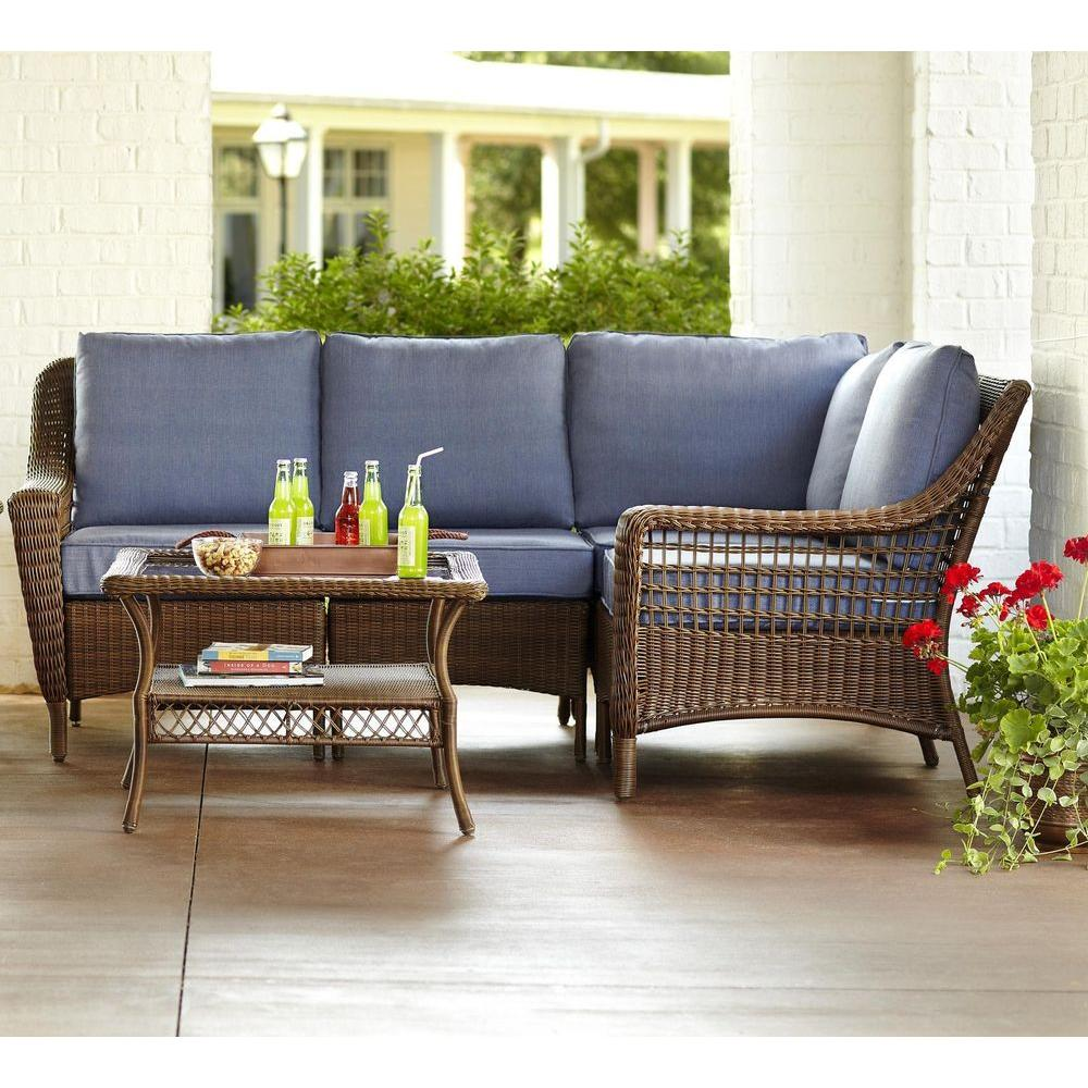 Hampton Bay Spring Haven Brown 5 Piece All Weather Wicker Patio Sectional Seating Set With Sky