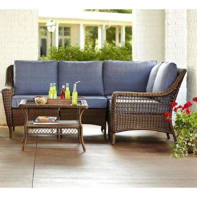 Spring Haven Brown 5 Piece All Weather Wicker Patio Sectional Seating Set  With Sky