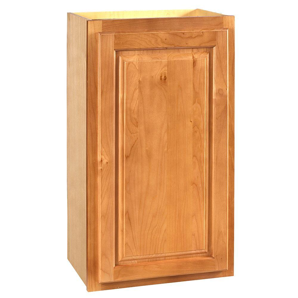 Home Decorators Collection Assembled 15x30x12 in. Wall Single Door Cabinet in Woodford Cinnamon
