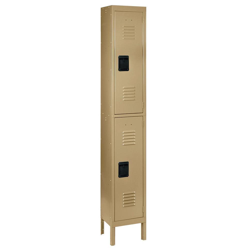 Citadel 12 in. W x 18 in. D x 36 in. H Steel Double Tier Lockers with Single Wide in Tan