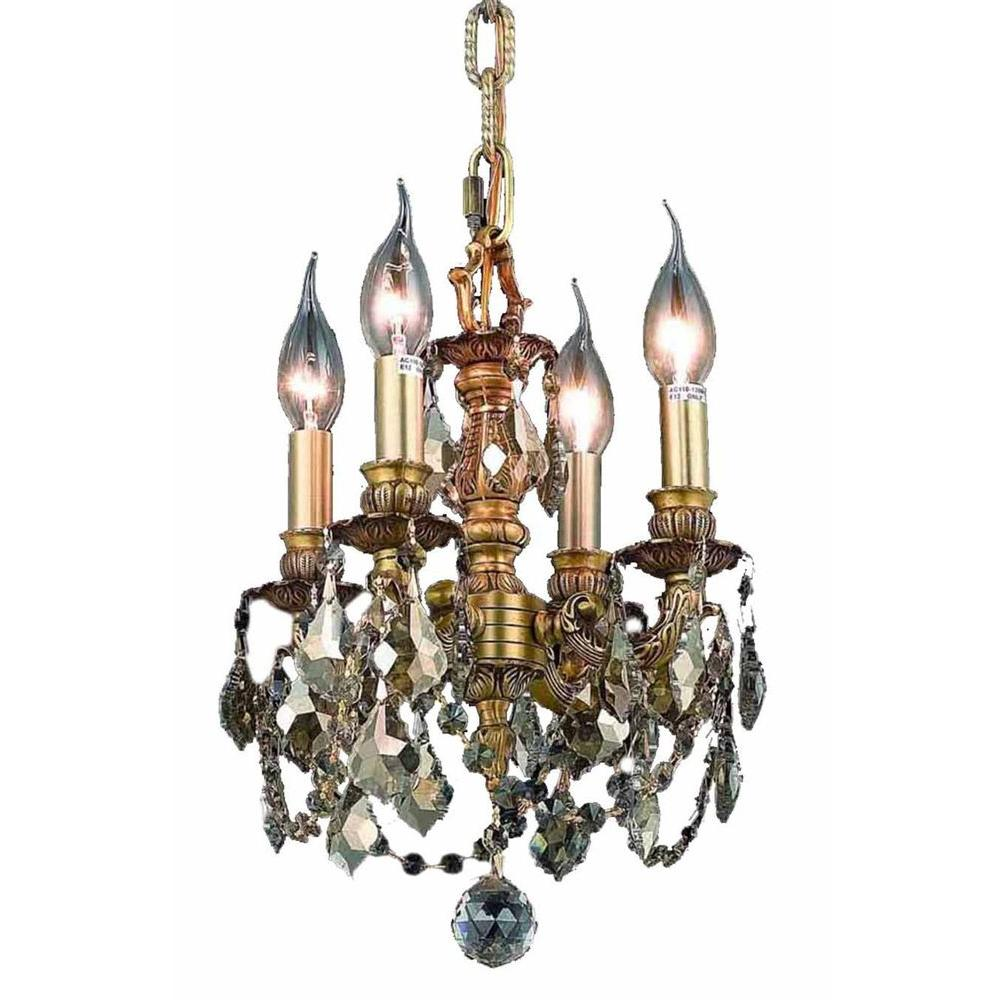 4-Light French Gold Chandelier with Golden Teak Smoky Crystal