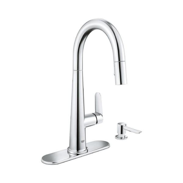 Veletto Single-Handle Pull-Down Sprayer Kitchen Faucet with Soap Dispenser in StarLight Chrome