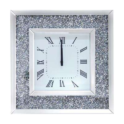 Noralie Mirrored and Faux Diamonds Wall Clock