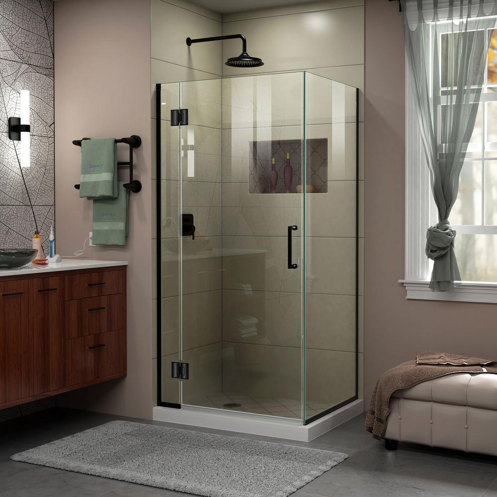 Unidoor-X 33-3/8 in. x 72 in. Frameless Corner Hinged Shower Enclosure