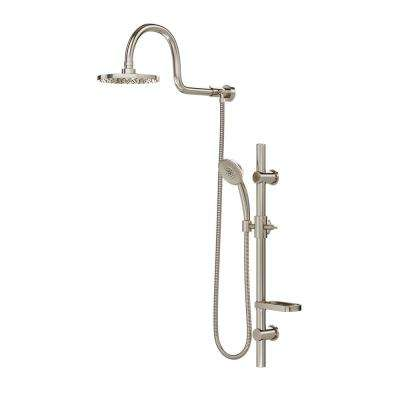AquaRain 3-Spray Retrofit Shower System w/ Hand Shower & Shower Head Combo & Wall Bar Shower Kit in Brushed Nickel