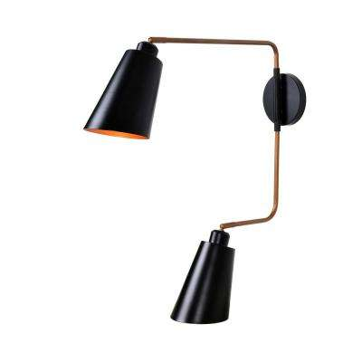 Alvar 2-Light Black Sconce